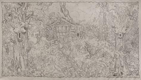ARMEN ELOYAN Untitled (Tapestry 5), 2016 acrylic on canvas 265 x 540 cm