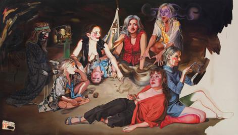 KATI HECK Selbstverständlich! (Die Übernahme), 2016 oil, charcoal on stitched canvas 200 x 350 cm
