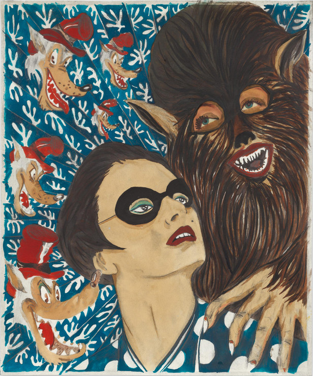 MARCEL DZAMA My mother was a bank robber my father was a werewolf and my grandma was the big bad wolf, 2017 - 2020 ink, watercolor, graphite, and collage on paper 43 x 35,5 cm