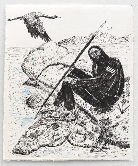 BRAM DEMUNTER Not a Duck in Sight, 2021 Ink and color pencil on paper 20,3 x 17 cm