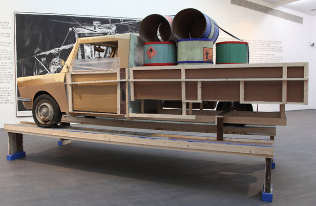 RINUS VAN DE VELDE I was a detective appointed to a task he didnt know, 2015 painted, cardboard, wood and mixed materials 430 x 180 x 260 cm