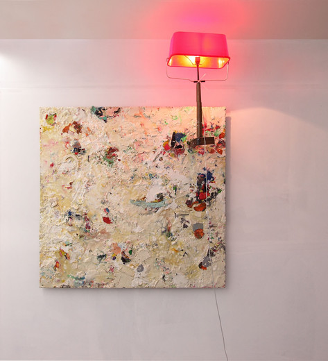 GELITIN Lampenbild, 2013 plasticine, wood, plastic bucket 185 x 140 x 50 cm