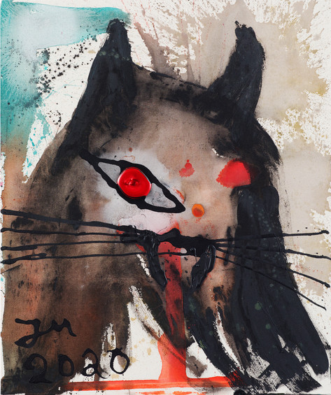 JONATHAN MEESE VAMPIRECAT-EMPIRE!, 2020 acrylic on coarse untreated cotton cloth 120,5 x 100,3 x 3,3 cm