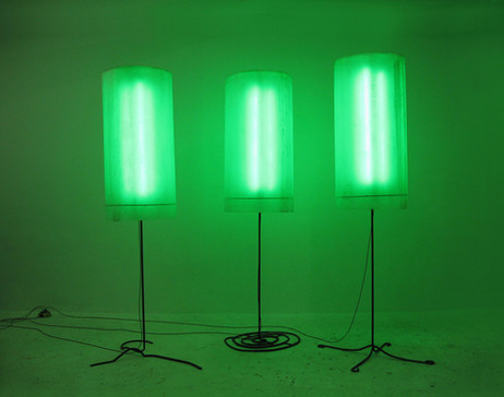 FRANZ WEST Hain, 2006 295 x 130 x 95 cm + 305 x 127 x 102 cm + 300 x 87 x 75 cm steel, acrylic glass, electronical device,neon tubes