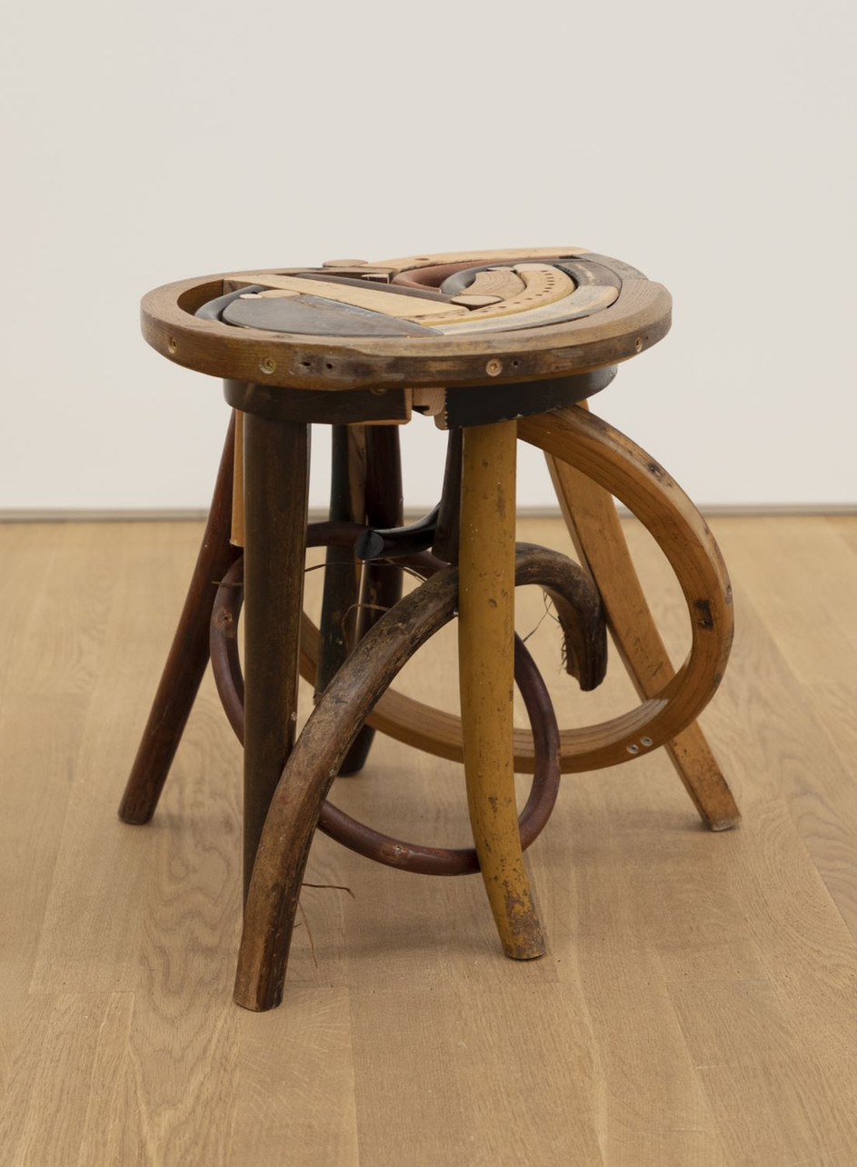 GELATIN Emma, 2019 wood, used furniture parts, metal  45 x 44 x 49 cm