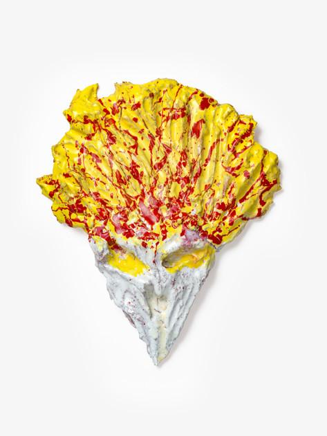 "JONATHAN MEESE FEUERKOPF ""SPITZ""! (UFOISMUS), 2020 glazed ceramic 51,5 x 44 x 7 cm"