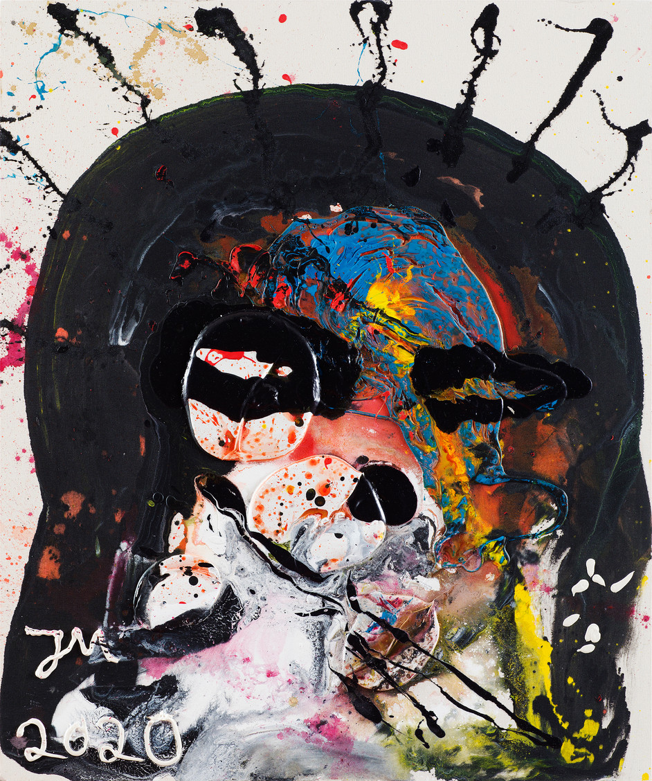 JONATHAN MEESE THE FIREWALKERZ!, 2020 acrylic and acrylic modelling paste on coarse untreated cotton cloth 120,5 x 100,3 x 3,3 cm