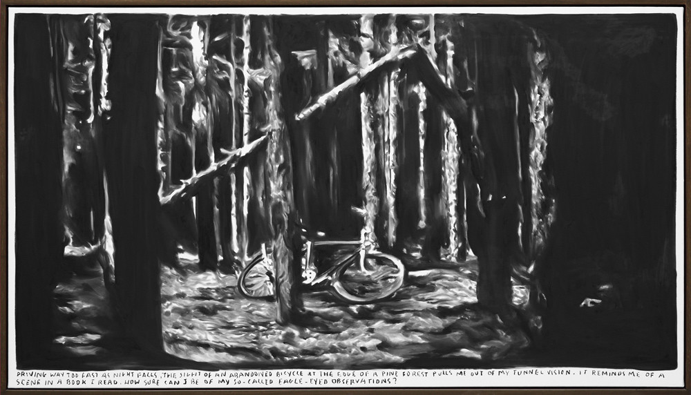 RINUS VAN DE VELDE, Driving way too fast as night falls, the sight of an abandoned bicycle at the edge of a pine forest pulls me out of my tunnel vision ..., 2015