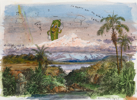 FRIEDRICH KUNATH I'm Really Into The World Lately, 2021 watercolor and archival ink on paper 26 x 36 cm