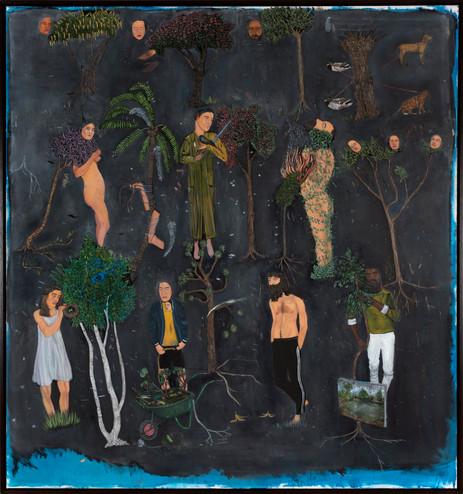 BRAM DEMUNTER Several Trees at Night, 2019 - 2020 oil on canvas 150 x 140 cm