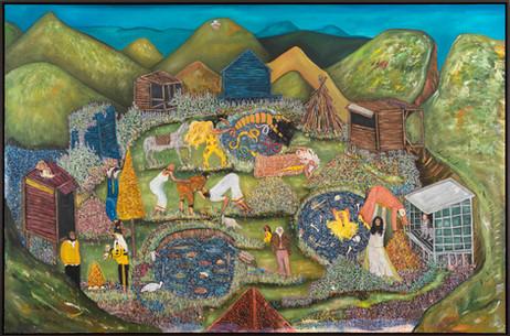 BRAM DEMUNTER Fight At The Vernal Pools, 2020 - 2021 oil on canvas 120 x 200 cm