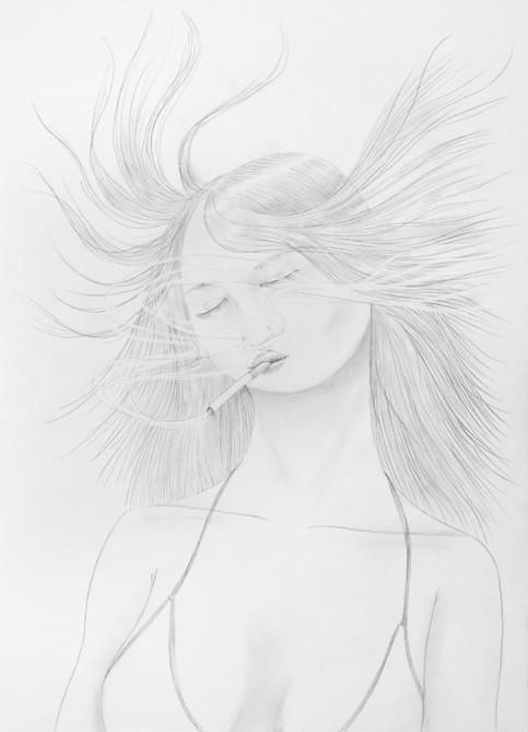 ED TEMPLETON, Untitled (Smoking girl hair blowing), 2015
