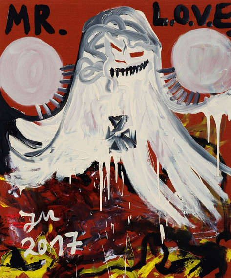 JONATHAN MEESE EILMELDUNG: DR. LOVE entgurut sogar seinen süssen kleinen Guru, aber ohne FALSCH, also frisch, wie LUMPI!, 2017 acrylic on canvas 120,5 x 100,3 x 3,3 cm