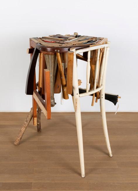 GELATIN Antonella, 2011 wood, used furniture parts, metal 87 x 82 x 84 cm