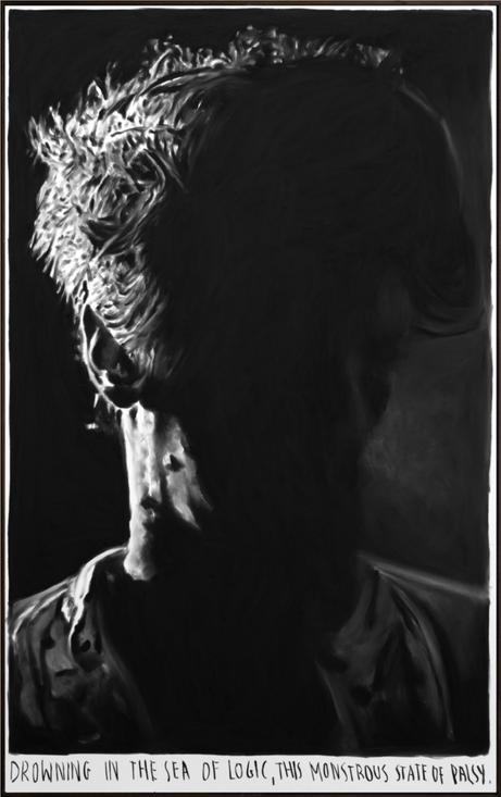 RINUS VAN DE VELDE Drowning in the sea of logic, ..., 2018 charcoal on canvas, artist frame 180 x 110 cm