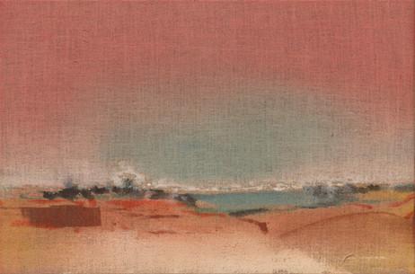 LEIKO IKEMURA Pink Sky, 2019 tempera on jute 60 x 90 cm