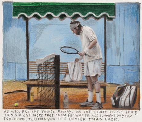 RINUS VAN DE VELDE He will put the towel always on the exact same spot,..., 2019 color pencil on paper,  11,9 x 13,8 cm