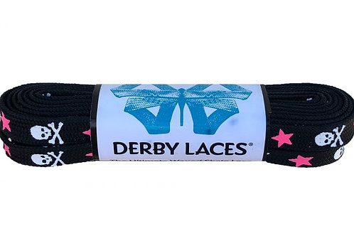Black – White Skulls and Pink Stars – 108 inch (274 cm) Derby Laces Waxed