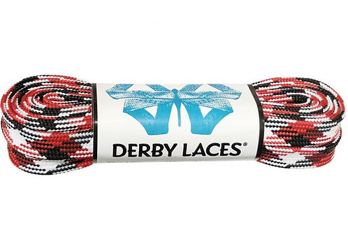 Red, White, and Black – 108 inch (274 cm) Derby Laces Waxed