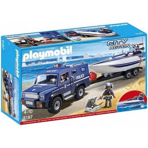 פליימוביל 5187 מכונית משטרה עם סירה