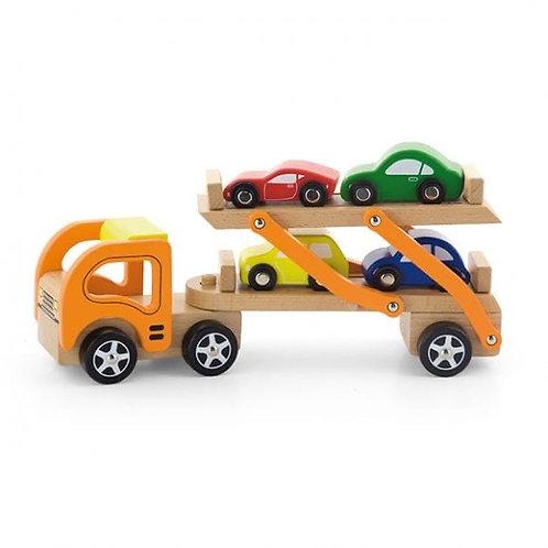 משאית עם מכוניות מעץ