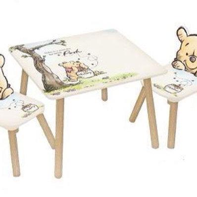 שולחן וזוג כיסאות מעץ פו הדוב