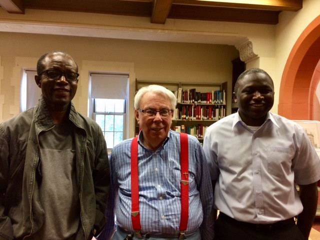 Fr. Alfred from Nigeria, Fr. Michael Perry, and Fr. Jacob Onyumbe
