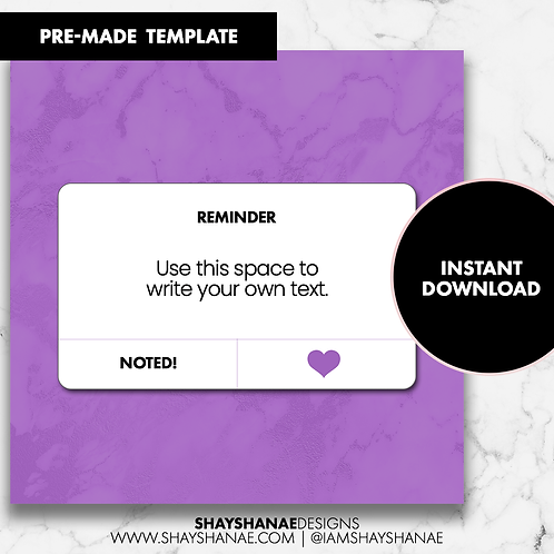 Reminder Template - Purple [Instant Download]