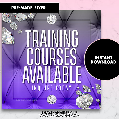 Pre-made Training Courses Flyer; Purple [Instant Download]