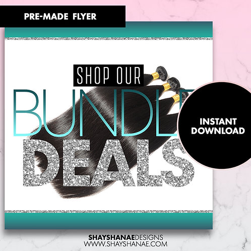 Pre-made Bundle Deals Flyer; Teal [Instant Download]