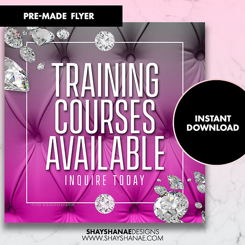 Pre-made Training Courses Flyer; Hot Pink [Instant Download]
