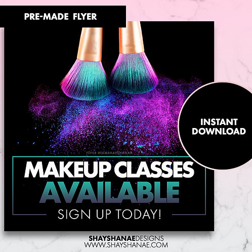 Pre-made Makeup Class Flyer; Aqua [Instant Download]