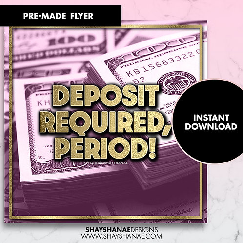 Pre-made Deposit Flyer; Plum [Instant Download]
