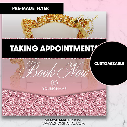 Pre-made Appointments Orders Flyer; Pink Glitter [Customizable]