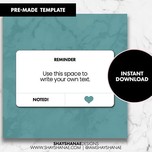 Reminder Template - Teal [Instant Download]