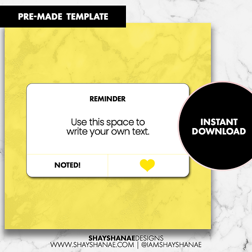 Reminder Template - Yellow [Instant Download]