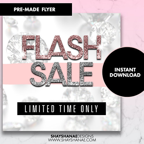 Pre-made Flash Sale Flyer; Silver/Light Pink [Instant Download]