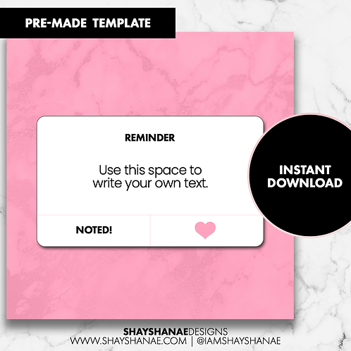 Reminder Template - Pink [Instant Download]