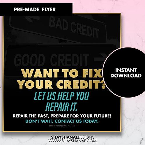 Pre-made Credit Fix Flyer; Gold/Teal [Instant Download]