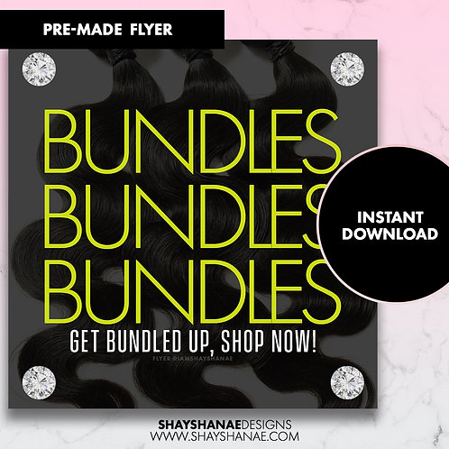 Pre-made Get Bundles Flyer; Neon Yellow [Instant Download]
