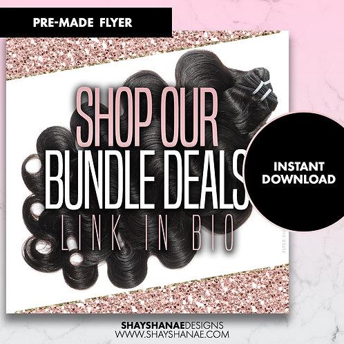 Pre-made Shop Our Bundle Deals Flyer; Pink Glitter [Instant Download]