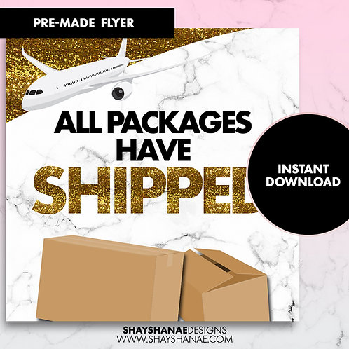 Pre-made Shipped Flyer; Gold Glitter [Instant Download]