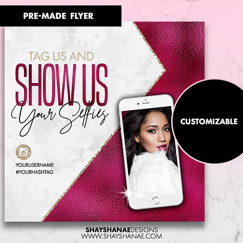 Pre-made Selfies Flyer; White/Wine [Customizable]