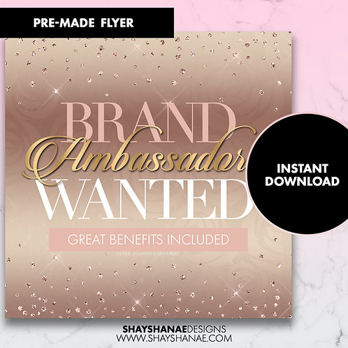 Pre-made Brand Ambassador Flyer; Champagne [Instant Download]