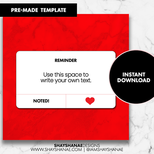 Reminder Template - Red [Instant Download]
