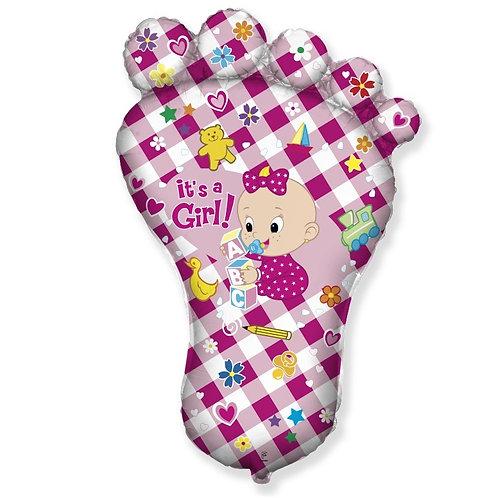 Шар (38''/97 см) Фигура, Ножка малышки, Розовый