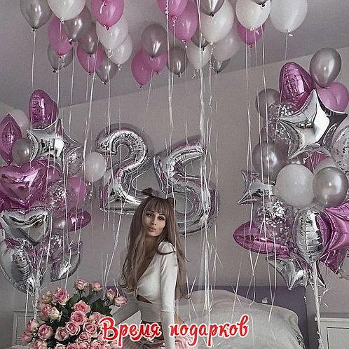 Композиция с гелиевыми шарами (любые цифры) №234