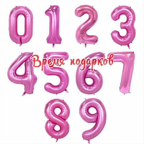 Цифра фольгированная с гелием (розовая)