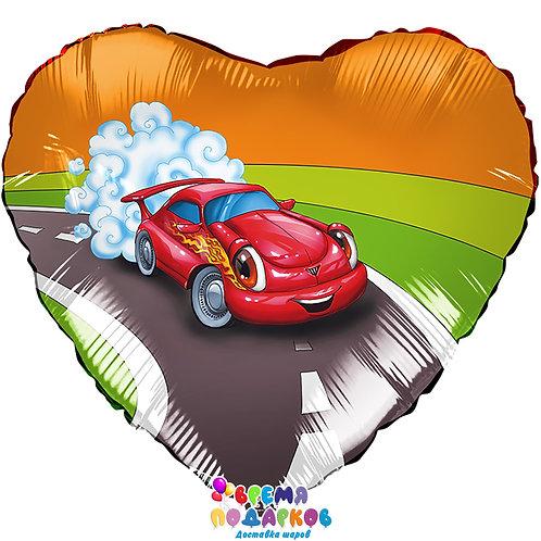 Воздушный шар (46 см) Сердце, Машина