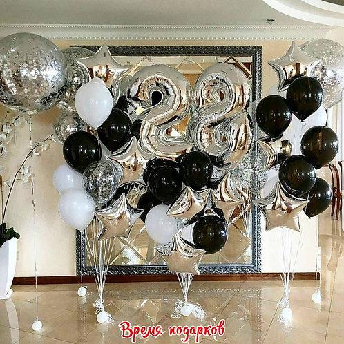 Композиция с гелиевыми шарами (любые цифры) №185